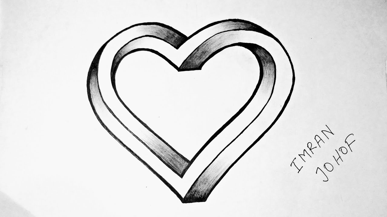 Como Dibujar Un Corazón En 3d Con Lineas: How To Draw A 3D Heart Shape ( Not Impossible) Easy