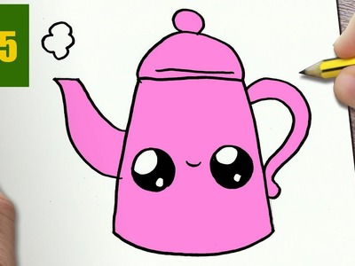 HOW TO DRAW A TEAPOT CUTE, Easy step by step drawing lessons for kids
