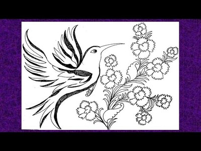 How To Draw Flying Bird And Flower