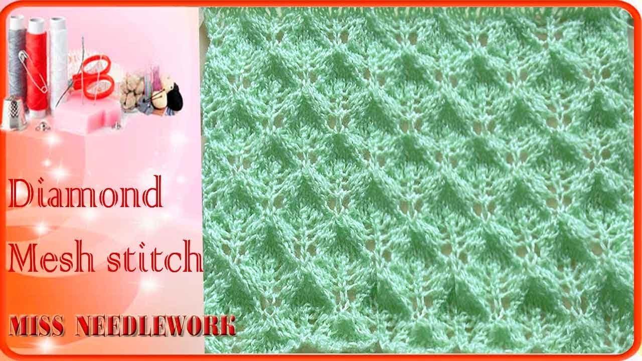 How to Knit Diamond Mesh stitch