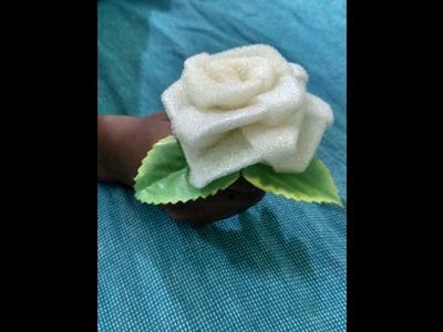 How to make beautiful flower using wast sponge cloth.sponge ல் அழகிய பூவை செய்வது எப்படி?