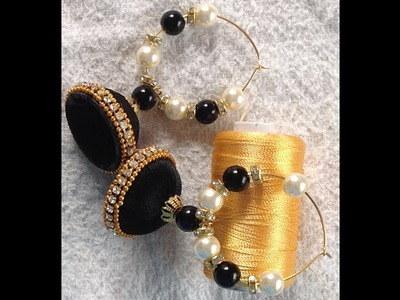 How to make designer silk thread handmade jhumka earring I DIY jhumka and hoop earring