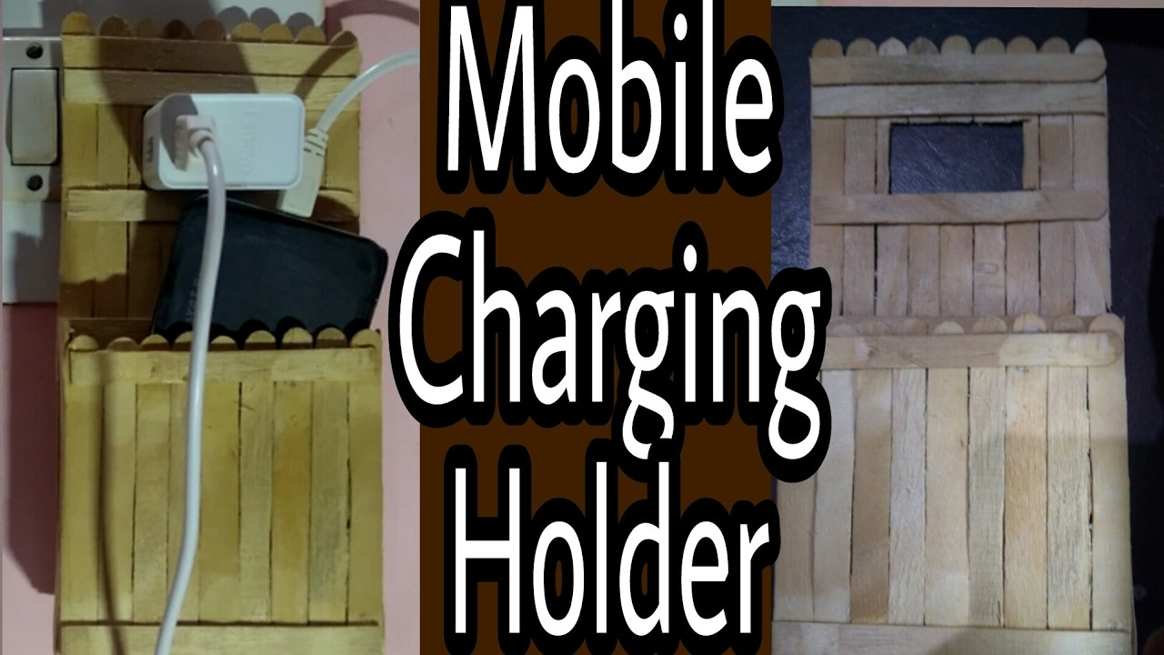 How to make mobile charging holder with popsicle stick | HMA##013