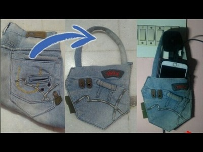 How to make mobile charging holder with old jeans | HMA##015