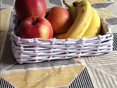 How to make newspaper basket  DIY  fruit basket   best out of waste   newspaper crafts