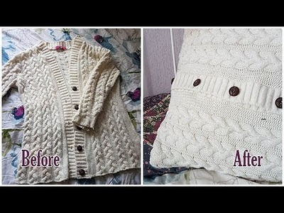 How To Upcycle A Knitted Cardigan Into A Knitted Cushion Cover! (No Knit)
