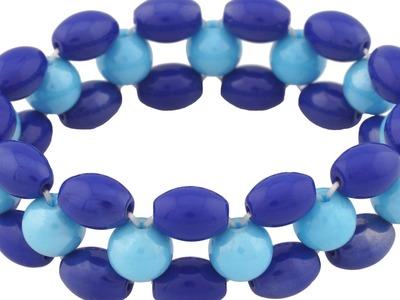Sapphire Art Luster Glass Beads Stretchable Unisex Bracelets