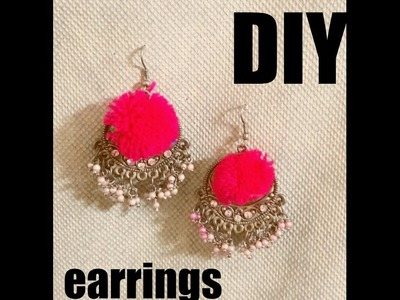 Simple Pompom Earrings DIY #2