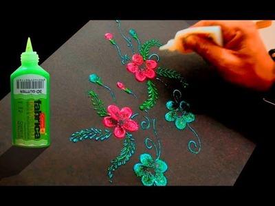 3d glitter finger painting