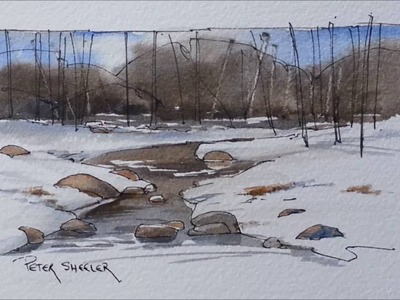 A Winter Stream in Line and Wash watercolor by Peter Sheeler. Great for beginners to follow