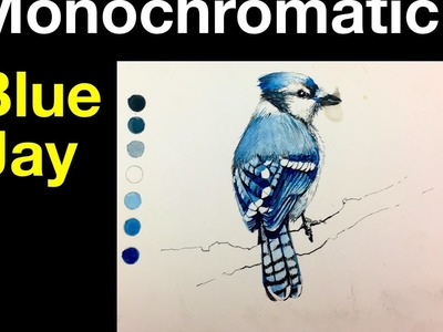 Beginner Watercolor Exercise | Monochromatic Painting of a Bird | Blue Jay