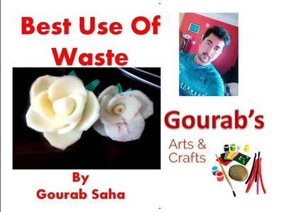 DIY    Best Use of Waste    Sponge flower    Foam flower    Waste Craft    Felt Rose
