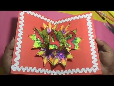 DIY Folding Pop Up Card for Love Proposal 143 (i love you). PaperCraft#10
