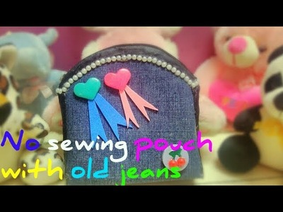 DIY- how to make pouch with old jeans