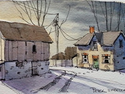 Draw and Paint a Farm at dusk. Line and Wash watercolor tutorial. Peter Sheeler
