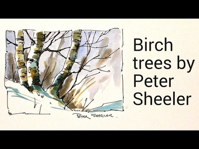 Draw and paint Birch trees in watercolour by Peter Sheeler. Simple and quick using a Waterbrush