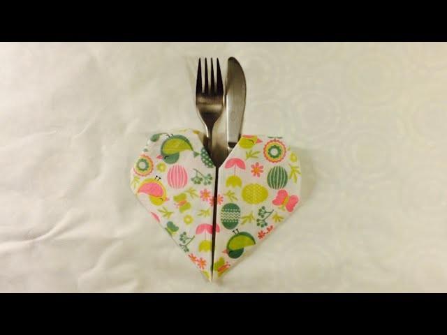 How to fold a napkin into a heart shape.