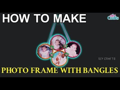How to make attractive Photo Frame with waste broken bangles at home || DIY Crafts