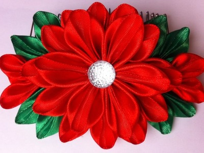 The decoration on the comb Kanzashi. Red Flowers