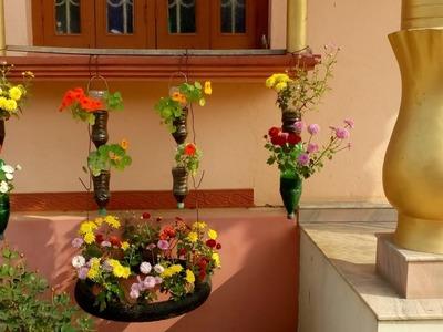 Window decoration by flower plants