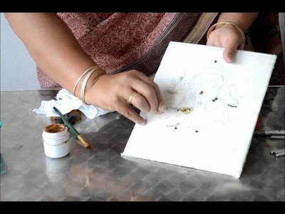 10 - pasting foil around square stones in tanjore painting