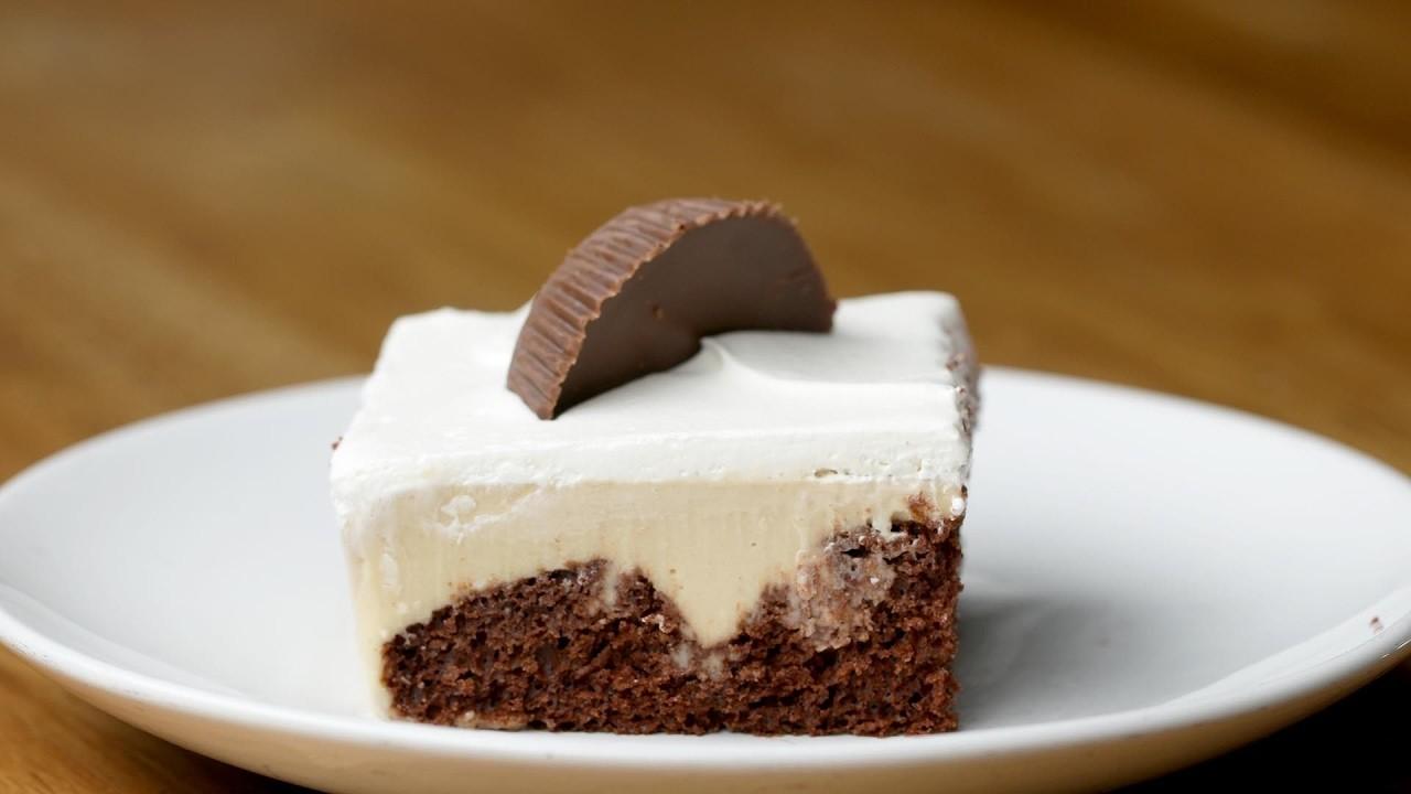 Chocolate Peanut Butter Poke Cake Tasty