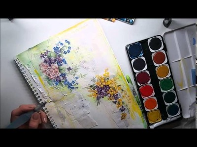 COLOUR Decoupage JOURNAL #10 + watercolours & Caran d'Ache wax pastels Spring