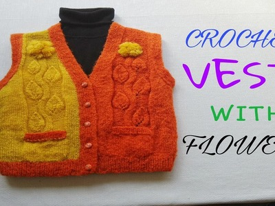 CROCHET VEST WITH FLOWERS. CHALECO DE CROCHET CON FLORES