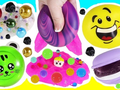 Cutting OPEN Squishy Cream EMOJI! Cookie SLIME! Sticky PEARL STRESS BALL! PANDA Glitter Putty!