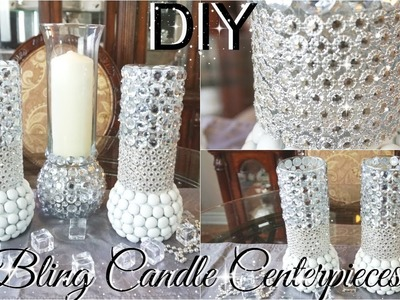 DIY BLING CENTERPIECE CANDLE HOLDERS WITH KINGSO DIAMOND MESH WRAP PETALISBLESS ????