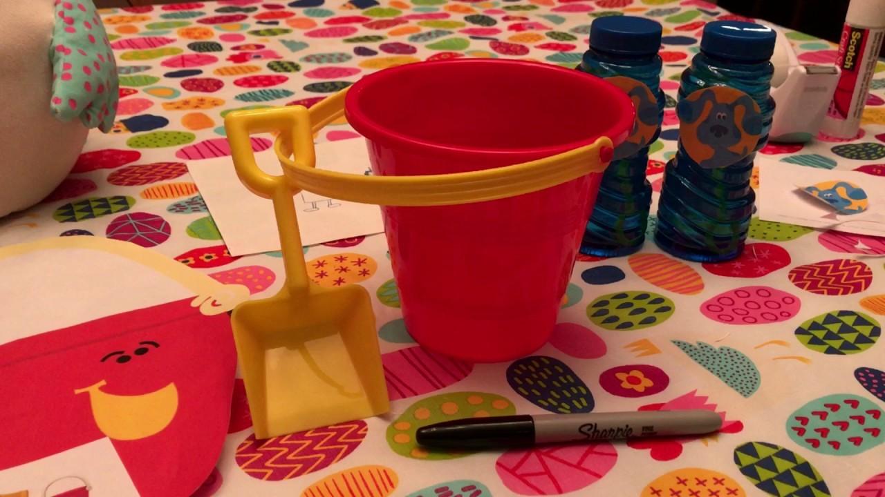 DIY Blue's Clues Pail & Shovel Kids Birthday Party Decoration