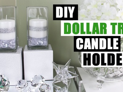 DIY DOLLAR TREE GLAM CANDLE HOLDERS Dollar Store DIY Candle Holders Bling Candles Glam Room Decor