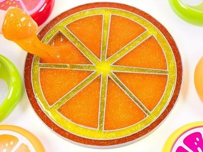 DIY How to Make Pearl Glitter Slime Orange Learn Colors for Kids Children