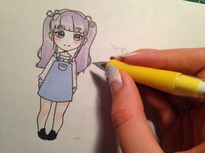 How to draw: cute 'chibi' style girl (no time lapse)