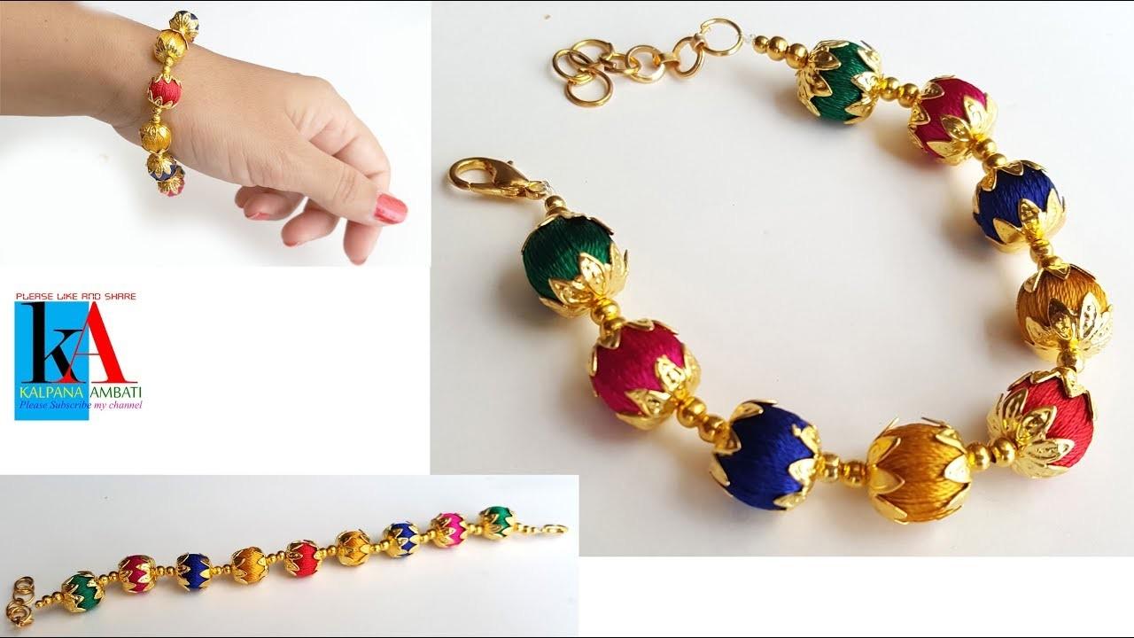 how to make silk thread bracelets with beads silk thread