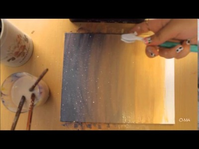 #Painting 1 : How to paint a sunset with buildings ( Acrylic paint)