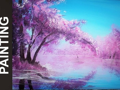 Painting a Cherry Blossom Tree Along the River with Acrylics in 10 Minutes!