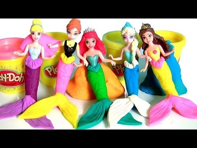 Play Doh Mermaid Ariel Magiclip with Mermaids Sisters Anna Elsa Cinderella Magic Clip Disney Frozen