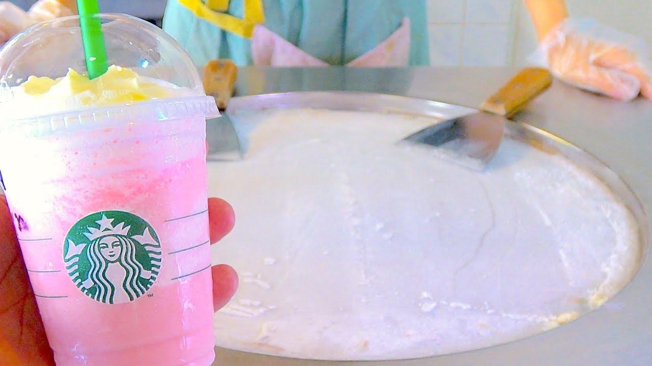 Starbucks Cotton Candy Frappuccino ice cream VS starbucks Latte coffee ice cream rolls challenge