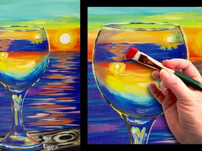 Sunset reflected in a glass easy beginner painting tutorial ????????