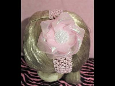DIY Easy  Organza Fabric Flower Hair Bow Tutorial