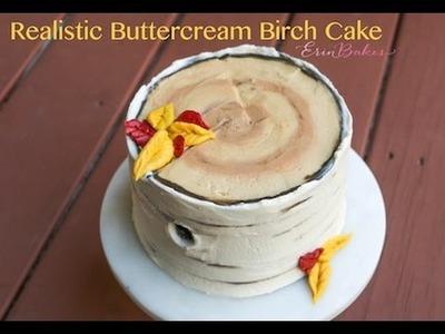 Realistic Buttercream Birch Tree Cake Tutorial