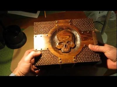 Skull Knife Box - Carved wooden box