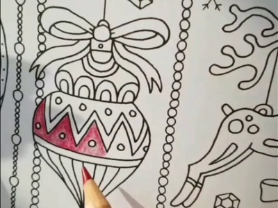 Adult coloring christmas ornament