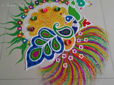 Beautiful and unique peacock rangoli for festival   Innovative rangoli designs by Poonam Borkar