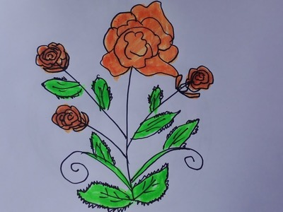 How to draw a rose tree-draw a rose bush easy-draw a rose bush step by step
