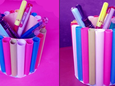How to Make A colorful  Paper Pen Holder | Pencil Holder | Creative Paper Art Designs