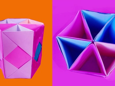How to Make a Paper Easy beautiful Pen Holder-Tutorials Pencil Container or stand with 6 Storage box