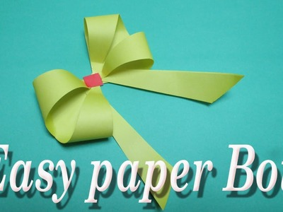 How to make Simple Easy paper Bow.DIY Easy paper bow gift wrap. paper craft.