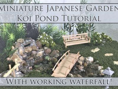 Miniature Japanese Garden Koi Pond Tutorial (waterfall works!) | Dollhouse | How to 1:24 Scale DIY